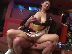 Kinky geisha and young slut share one hard cock
