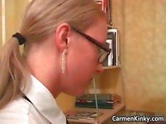 Sexy brunette and blond teacher part3