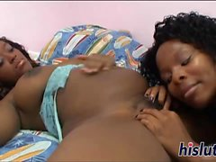 Two raunchy ebony bitches have kinky sex
