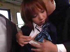 Pretty Asian schoolgirl with sexy legs gives a nice blowjob