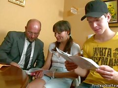 Dirty old teacher joins in with a student couple