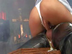 British blonde with big knockers gets it on with a guy covered in leather