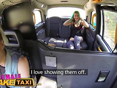 Female Fake Taxi Dildo makes hot lesbian tattooed babe