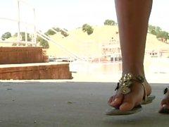two amazing Goddess public feet tease