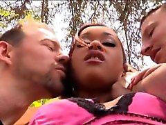 Sexy ebony Skin Diamond anal threesome with white dicks