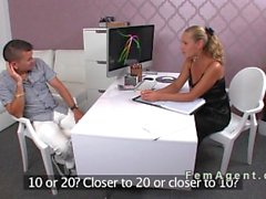 Blonde agent get fucked in pantyhose