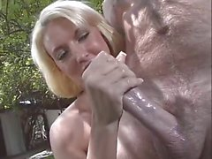 Blonde woman love to stroke a cock
