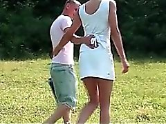 Hot horny couple getting wild at a sex picnic outdoor