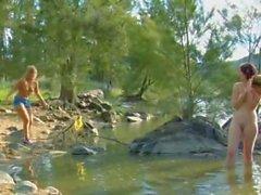 Nude Beach - 3 Teens Setting Up Camp