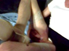 nouveau crayon jupe et de talons hauts de bronzage masturber !