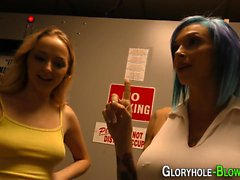 Babes in gloryhole 3way