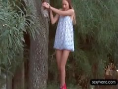 Outdoor solo scene with sexy Ivana rubbing her cunt