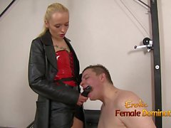 Slave Sucks His Mistress Big Strap-on