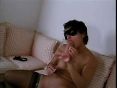 Bad girl filling her pussy that is eager