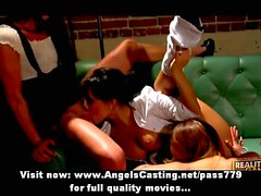 Lesbian threesome sex orgy licking and toying pussy with sex toys