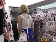 Teen spunked at gloryhole