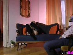 Stockings teen bounces