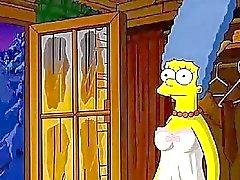 De Simpsons con bigote Cabaña amor