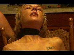 Girl choked with black belt bondage