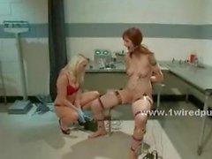 Busty blonde lesbian patient bondage