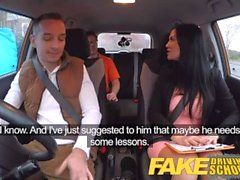 Fake Driving School exam failure ends up in threesome double creampie