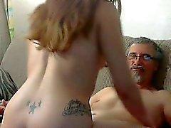 Teen Girl w Long Hair Sucking & Fucking Old Man