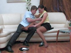 He fucks her in black pantyhose with a condom