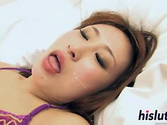 Hot threesome session with an Asian stunner