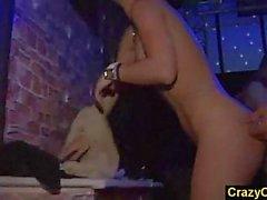 Orgy with next door amateur girls in nightclub