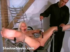 Two slaves bizarre pussy punishments and whipping