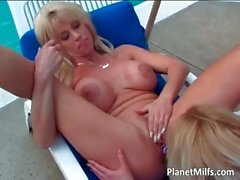 Lesbian mature couple outdoor playing part1