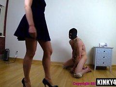 Hot slave femdom and cum swallow