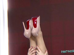 Hot Tall Blond Brit shows off her Nylons