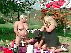 Granny Lesbian Outdoors Threesome
