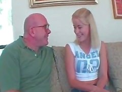 Cute blonde daughter fucked by grandpa