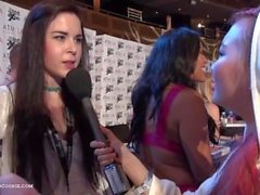 Latina newcomer Amber Nevada with Amarna Miller Interview AEExpo by Harriet