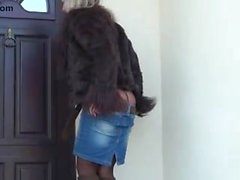 Tight ass blonde cougar in pantyhose stripping outdoor