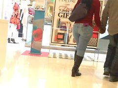 Tight Jeans Black Milf in Mall