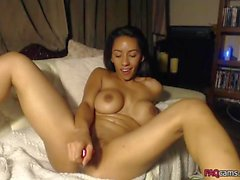 Sexy Girl Toys her Tight Shaved Cunt