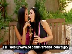 Cute brunette lesbos fingering and licking pussy and having strong orgasm