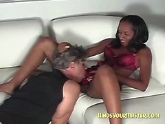 Ebony strapon domination