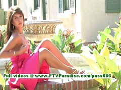 Malina amazing brunette chick flahing naked outdoor and stuffing