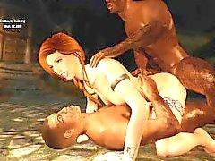 Sexy Skyrim - Nord Redhead 3some Fun