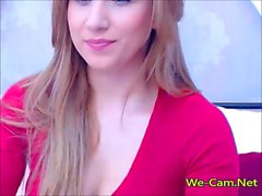 Beautiful lady in red clothes masturbation show