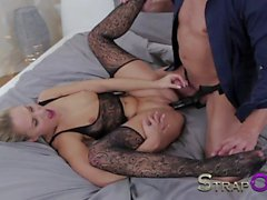 StrapOn Hot blonde babe pleasured by double penetration