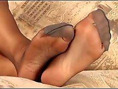Grey sexy nylon feet