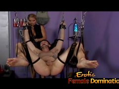 Mistress Nicolette has no mercy for her helpless skinny slave