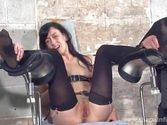 Feet tortures of slave Elise Graves in dungeon bon