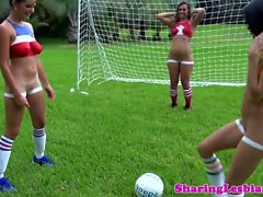 Teen lez threeway with sporty bodypaint babes