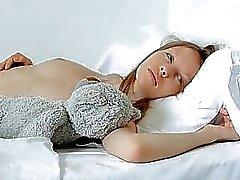 Darling in lengthy stockings is easing her needs